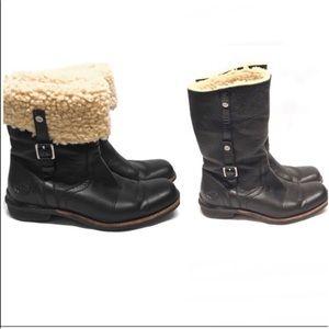 UGG Bellevue Boots Black Leather Waterproof 7.5